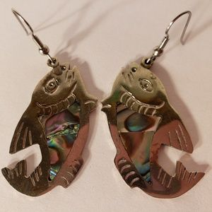 Vintage 1960 Abalone Fish Sterling Silver Earrings